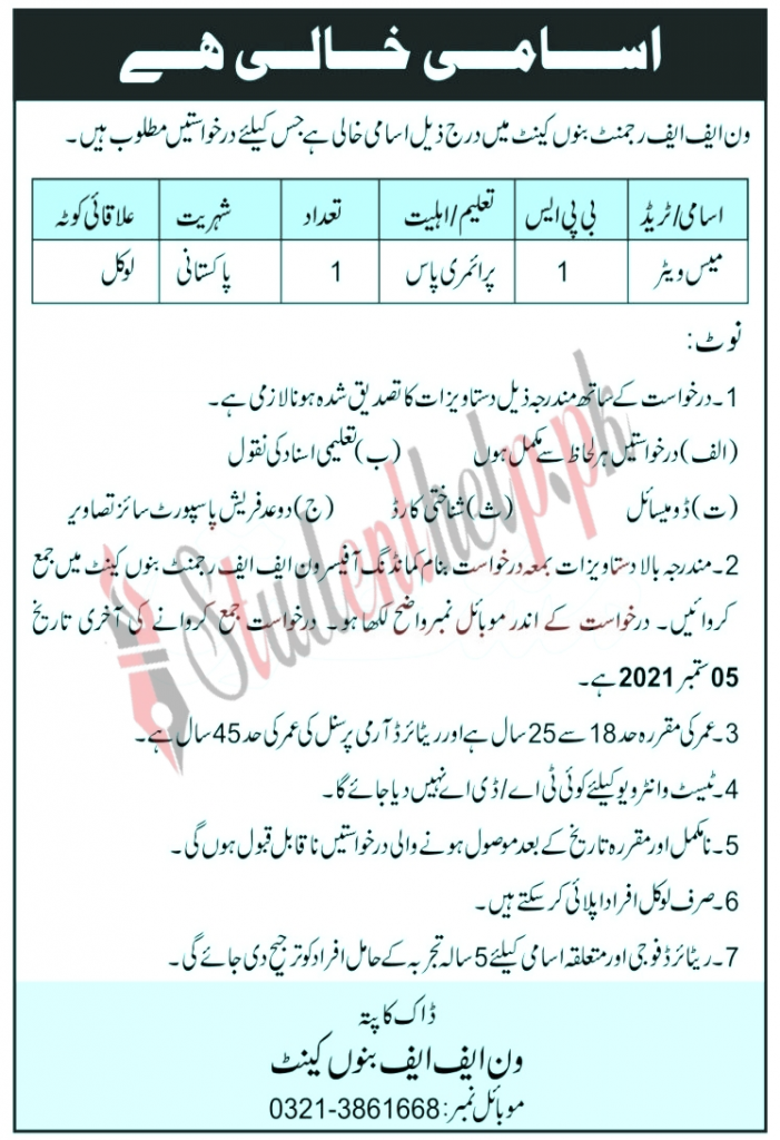 Frontier Force Regiments Jobs in Banu cant 2021