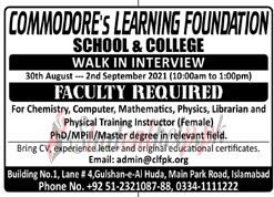 Teaching Jobs in Islamabad 2021| Commodore's Learning Foundation Jobs