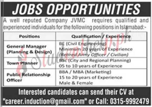 Manager jobs in JVMC Construction Company Islamabad 2021