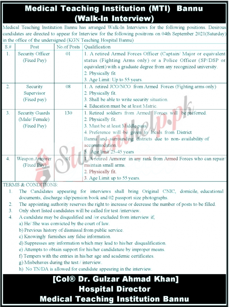 Security Officer Jobs in Medical Teaching Institution Bannu 2021