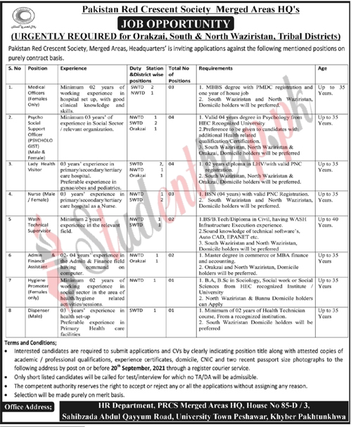 Medical officer jobs in Pakistan Red Crescent Society North Waziristan 2021