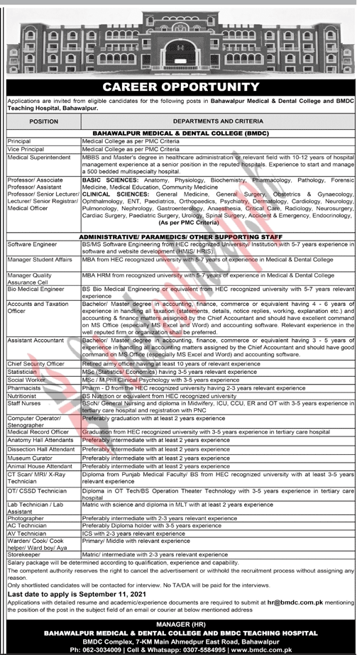 Administrator Jobs in Bahawalpur Medical and Dental College BMDC 2021