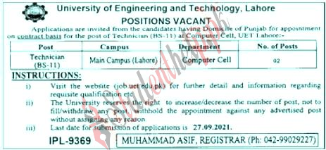 University of Engineering and Technology Lahore jobs 2021  UET jobs