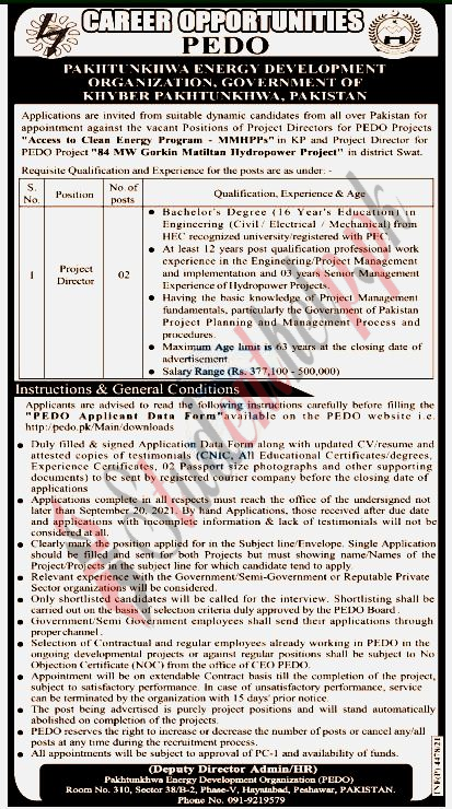 Project Director Jobs in PEDO Khyber Pakhtunkhwa 2021