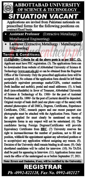 Professor Jobs at Abbottabad University of Science and Technology 2021