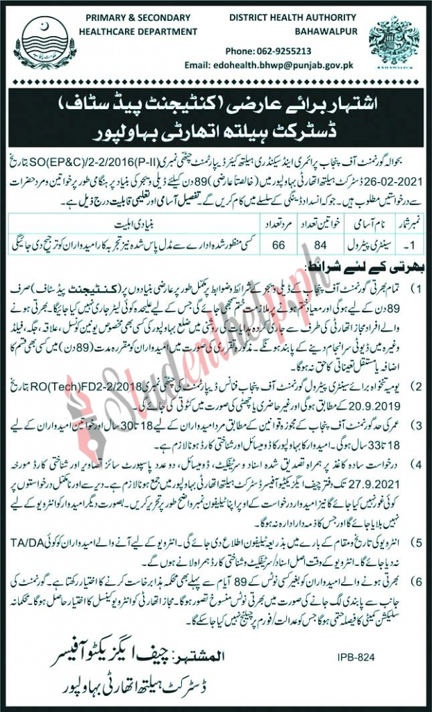 Primary and Secondary Healthcare Department Bahawalpur Jobs 2021