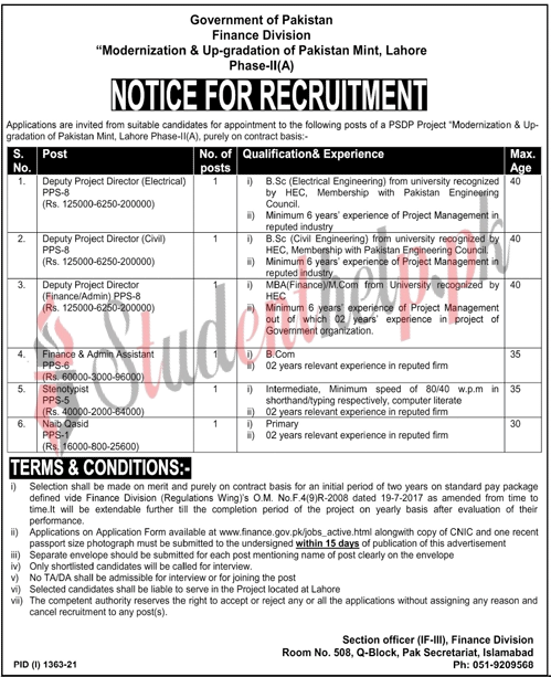 Admin Jobs in Ministry of Finance Lahore 2021