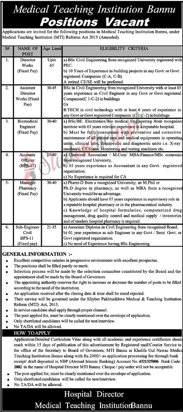 Assistant Director Jobs 2021 at Medical Teaching Institution Bannu