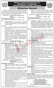Executive Director Jobs at National Institute of Health Islamabad 2021
