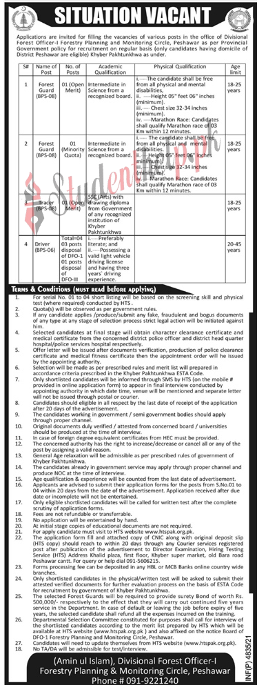 Forest Guard Jobs at Foresty Planning and Monitoring Circle Peshawar 2021