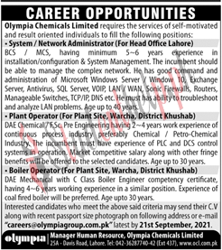 Admin Jobs at Olympia Chemicals Limited Lahore 2021