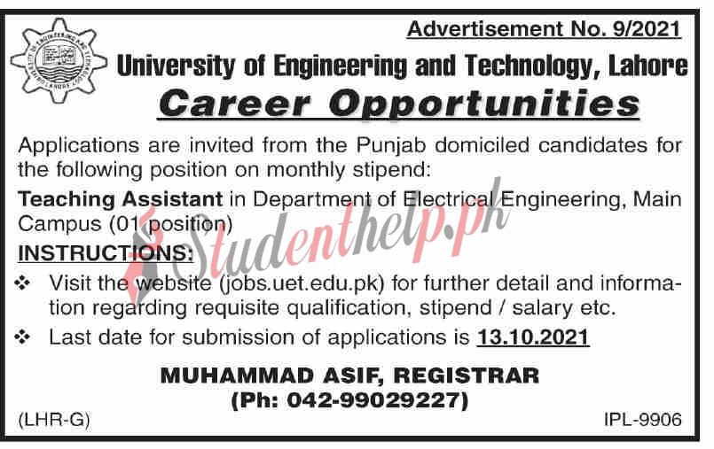 Teaching Assistant Jobs 2021 at UET Lahore