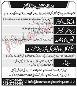 Engineer and Electrician Jobs at Transformer Manufacturers Company Lahore 2021
