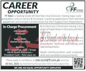 In-charge Jobs 2021 at FF Steel