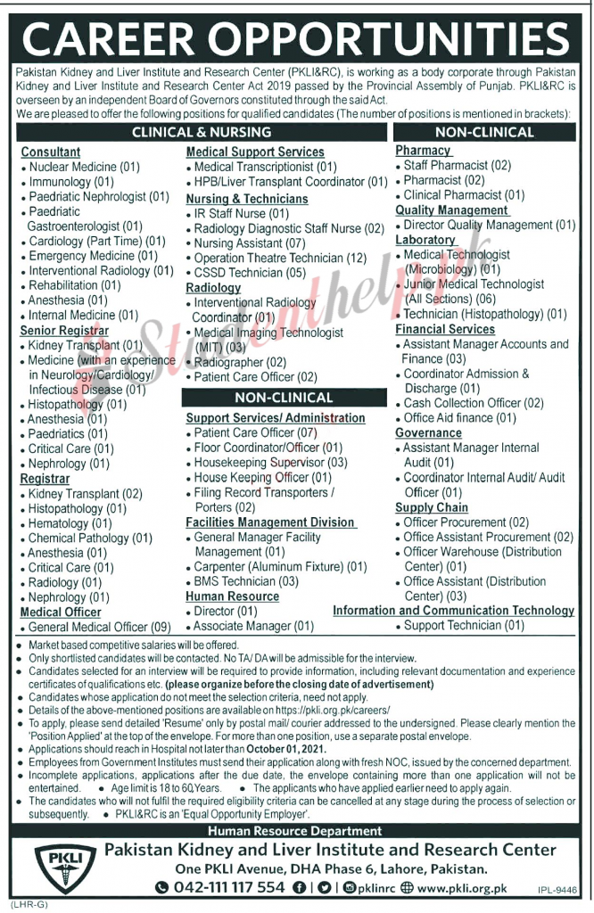 Pakistan Kidney and Liver Institute and Research Lahore Jobs 2021
