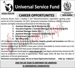 Manager jobs in Universal Service Fund Islamabad 2021