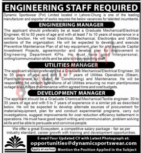 Manager Jobs at Dynamic Sportswear Pvt Ltd Lahore 2021
