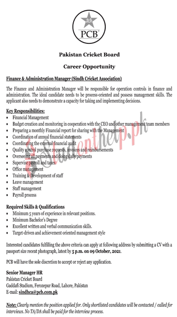 Finance and Administration Manager Jobs 2021 at Pakistan Cricket Board