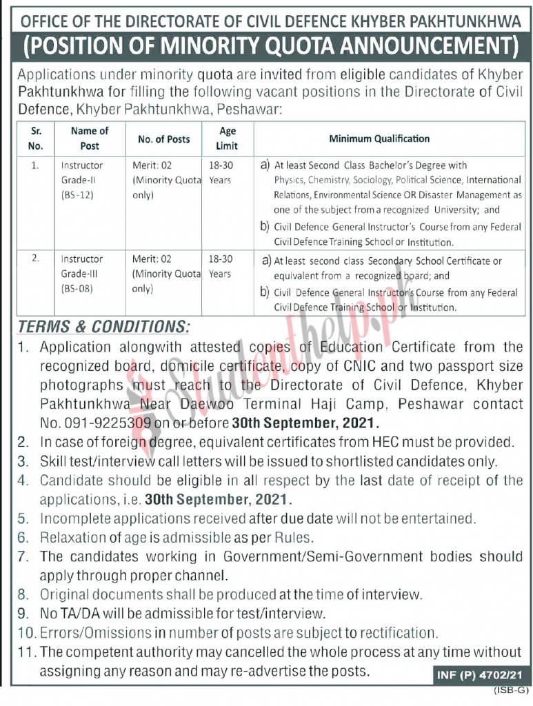Directorate Of Civil Defence Khyber Pakhtunkhwa Jobs 2021