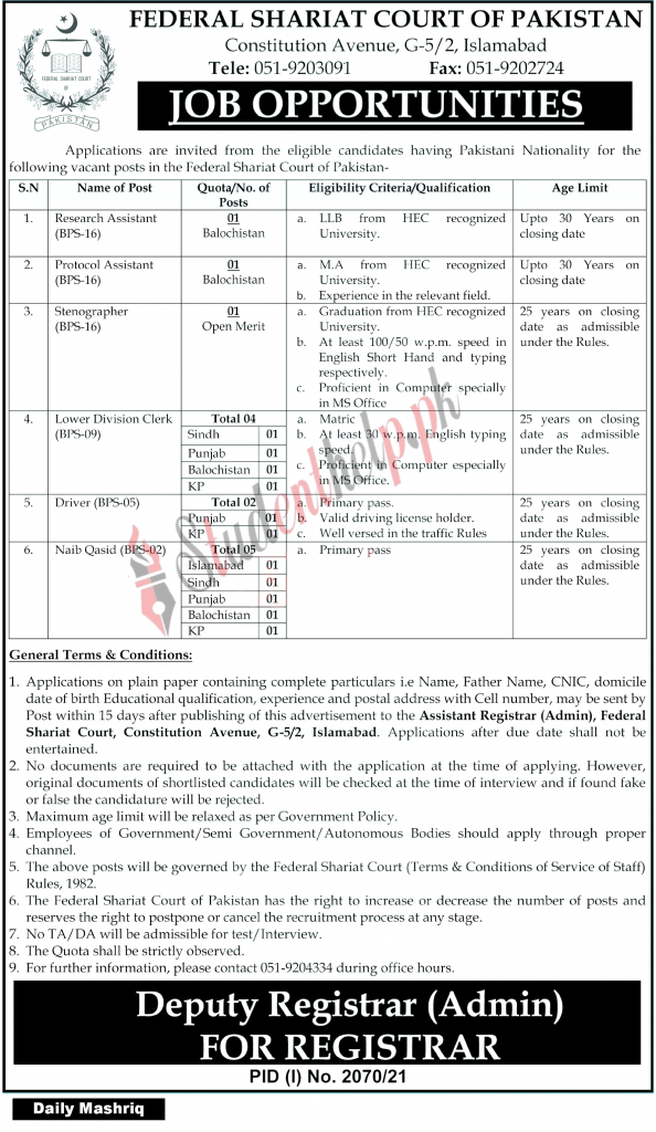 Research Assistant Jobs 2021 at Federal Shariat Court Islamabad
