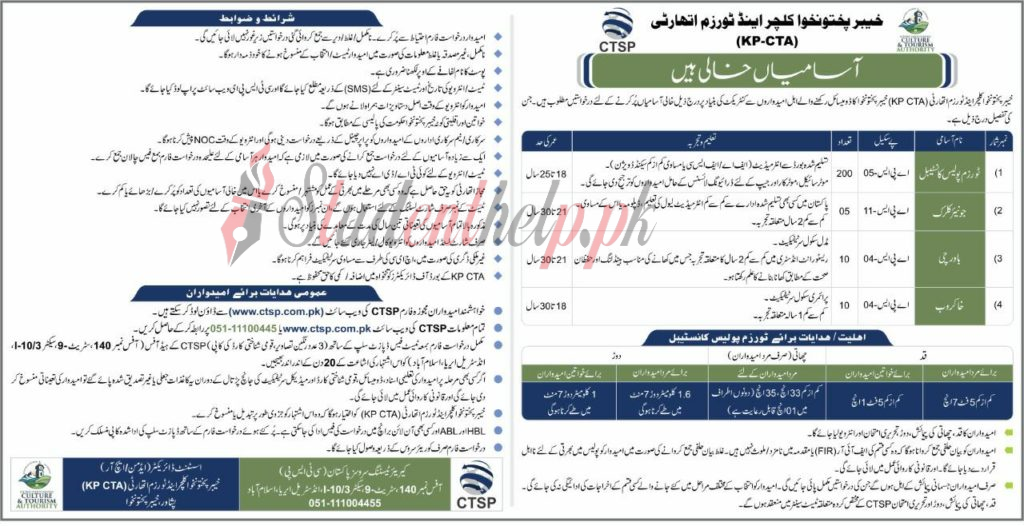 Tourism Police constable Jobs 2021|KPK Culture and Tourism Authority Jobs